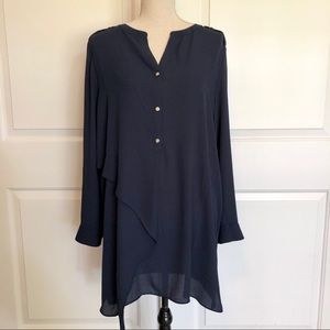 Chico's Navy Blue Tunic Length Top Large